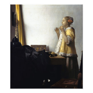 Woman with Pearl Necklace by Johannes Vermeer Art Photo