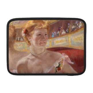 Woman with Pearl Necklace in a Loge - Mary Cassatt Sleeve For MacBook Air