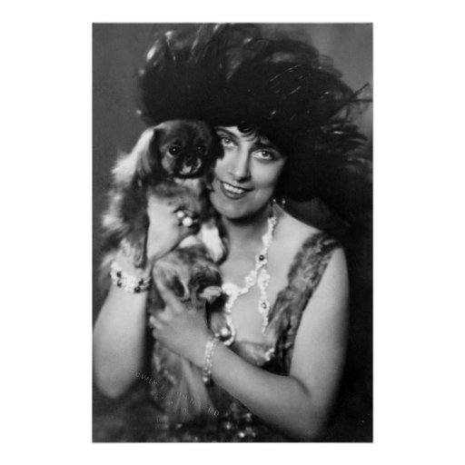 Woman with Pekingese, 1920s Poster