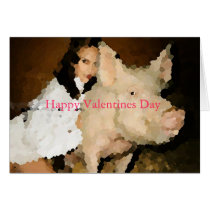 woman with pig valentine day card