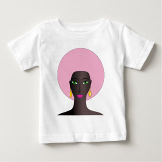 Woman With Pink Afro and Green Eyes Abstract Art Baby T-Shirt