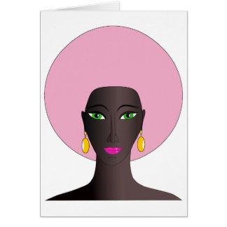 Woman With Pink Afro and Green Eyes Abstract Art Greeting Card