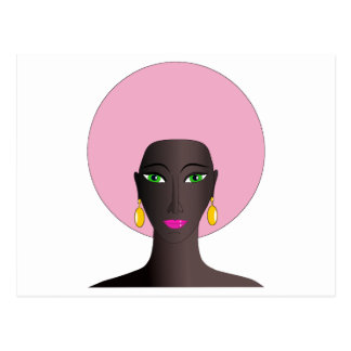 Woman With Pink Afro and Green Eyes Abstract Art Postcard