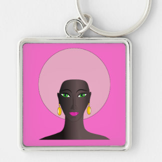 Woman With Pink Afro and Green Eyes Abstract Art Silver-Colored Square Keychain