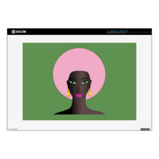 Woman With Pink Afro and Green Eyes Abstract Art Laptop Decals