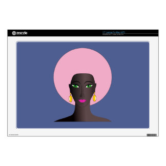 Woman With Pink Afro and Green Eyes Abstract Art Laptop Decal