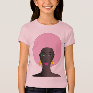Woman With Pink Afro and Green Eyes Abstract Art T-Shirt