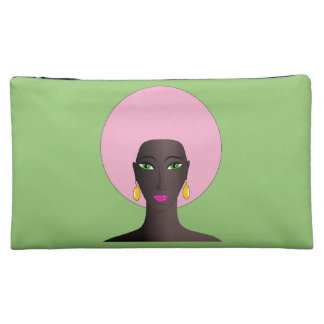 Woman with Pink Afro and Green Eyes Cosmetic Bag