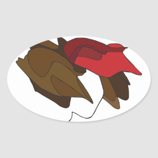 Woman with Red Hat Oval Sticker
