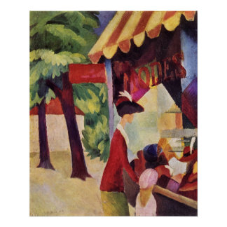 Woman with red jacket and child by August Macke Poster