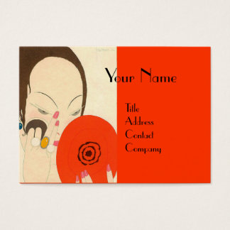 WOMAN WITH RED MIRROR Deco Beauty Fashion Makeup Business Card