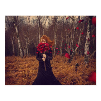 Woman With Red Roses In Nature Postcard