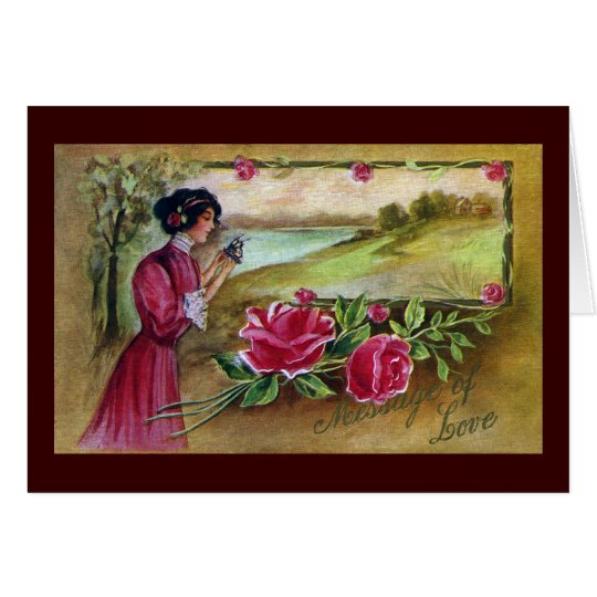 Woman with Roses and Butterfly Card