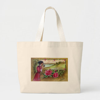 Woman with Roses and Butterfly Large Tote Bag