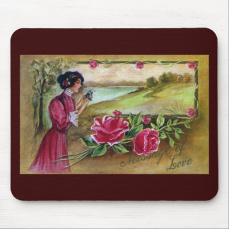 Woman with Roses and Butterfly Mouse Pad