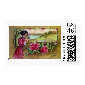 Woman with Roses and Butterfly Stamp