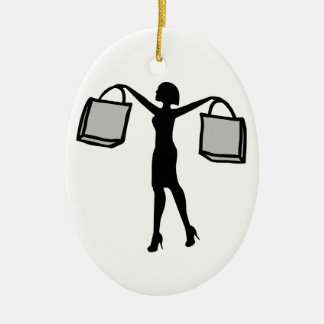 Woman with Shopping Bags. Ceramic Ornament