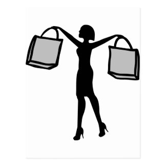 Woman with Shopping Bags. Postcard