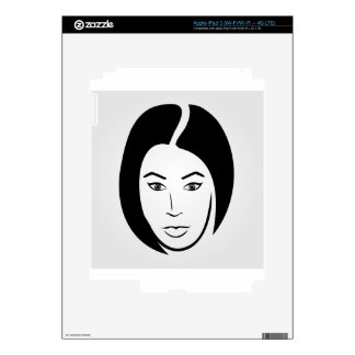 Woman with short hair iPad 3 decal