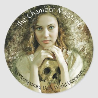 Woman with skull classic round sticker