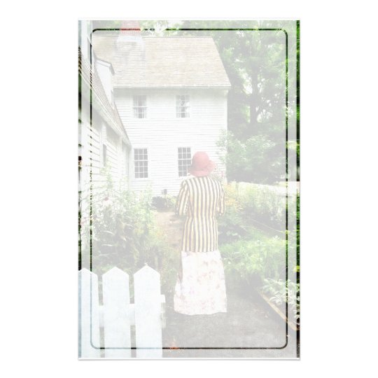 Woman With Striped Jacket and Flowered Skirt Stationery