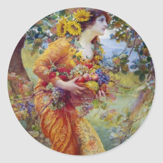 Woman with Summer Bounty Classic Round Sticker