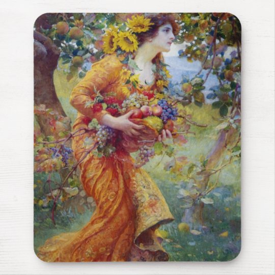 Woman with Summer Bounty Mouse Pad