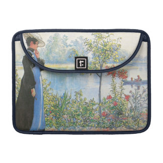 Woman with Summer Flowers MacBook Pro Sleeve