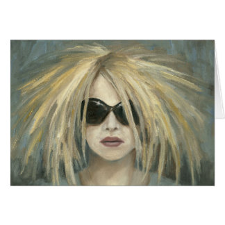 Woman with Sunglasses Big Hair Oil Painting Card