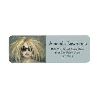 Woman with Sunglasses Big Hair Oil Painting Custom Return Address Label