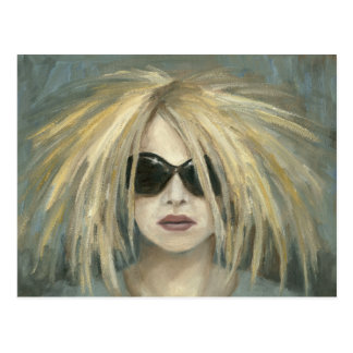 Woman with Sunglasses Big Hair Oil Painting Post Cards