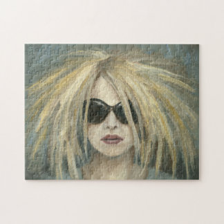 Woman with Sunglasses Big Hair Oil Painting Jigsaw Puzzle