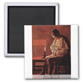 Woman With The Flea By La Tour Georges De 2 Inch Square Magnet