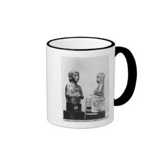 Woman with the shawl coffee mugs