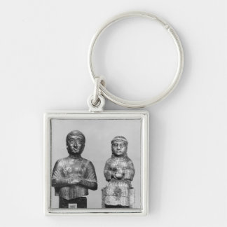Woman with the shawl Silver-Colored square keychain