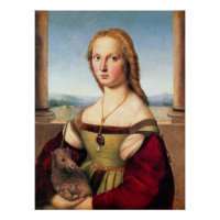 Woman with the Unicorn by Raphael - Poster/Print Poster