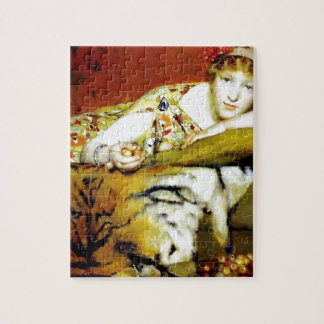 Woman with tiger fur painting puzzles