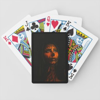 Woman with Tiger Pattern Tattoos Bicycle Playing Cards