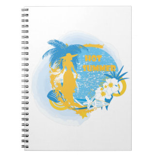 Woman with tropical plants in pop art style spiral notebook