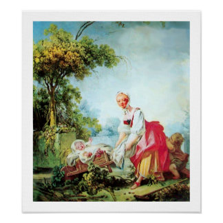 WOMAN WITH TWO CHILDREN Premium Canvas Poster