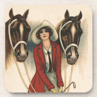 Woman with Two Horses Coaster