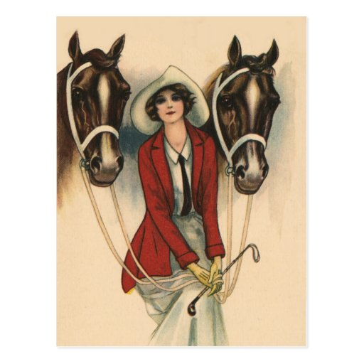 Woman with Two Horses Post Cards