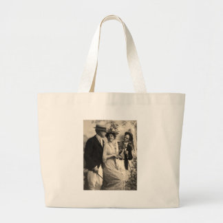Woman with two suitors jumbo tote bag