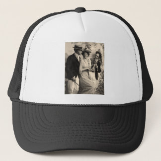 Woman with two suitors trucker hat