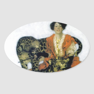Woman with two wild leopard pets oval sticker