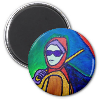 Woman with Umbrella by Piliero 2 Inch Round Magnet