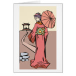 Woman With Umbrella Greeting Card