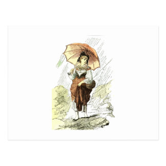 Woman with Umbrella in the Rain, vintage Postcard