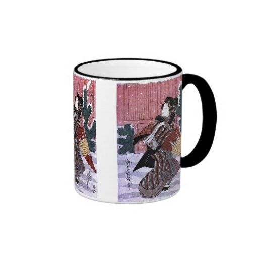 Woman With Umbrella in the Snow Mug
