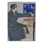 Woman With Umbrella - Vintage Art Card